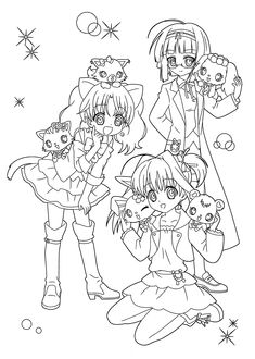 cute anime chibi cat girls coloring page art coloring