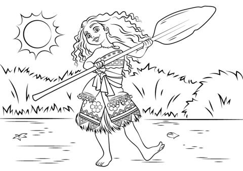 dibujo de princesa moana vaiana waialiki para colorear