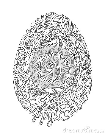 easter egg with pattern in zentangle style coloring book