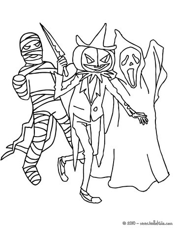 group of creepy monsters coloring pages hellokids