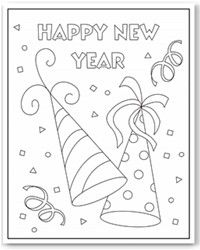 happy new year party hats coloring page new year