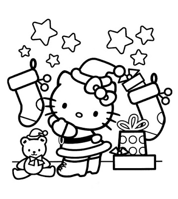 hello kitty christmas coloring sheets story words pics