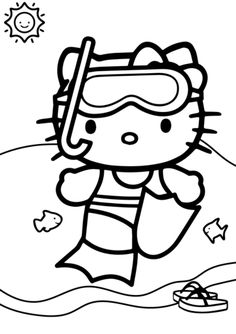 hello kitty summer coloring pages at getdrawings free