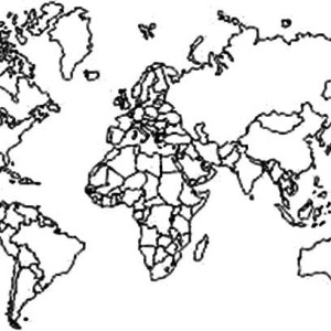 horizontal continents in world map coloring page kids
