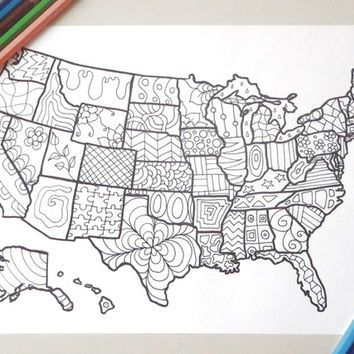 map usa united states america coloring book kids adults