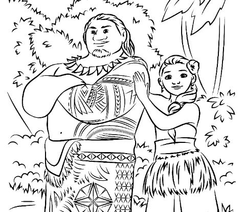 maui and hei hei from moana coloring page free coloring