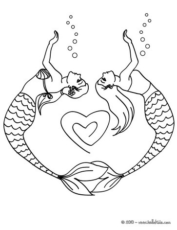 mermaid couple drawing a heart coloring pages hellokids