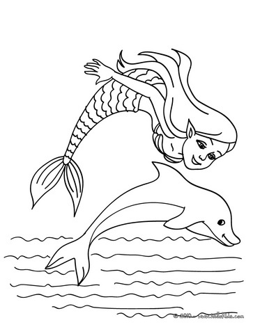 mermaid with a dolphin coloring page mermaid and sea
