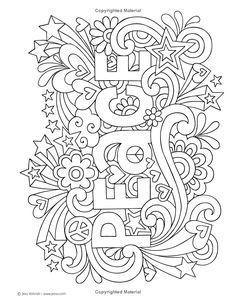 notebook doodles peace love music color activity