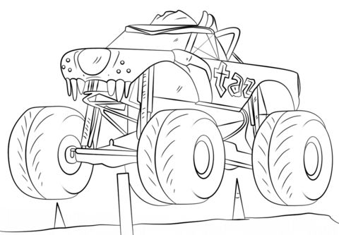 pin coloring pages on monster truck coloring pages