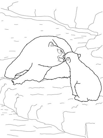 polar bear ba and mother coloring page free printable
