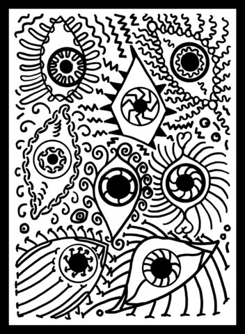 psychedelic pattern with eyes coloring page free