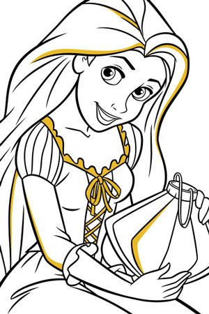 rapunzel and lantern colouring page disegni da colorare