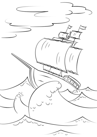 sailing ship on huge ocean waves coloring page free