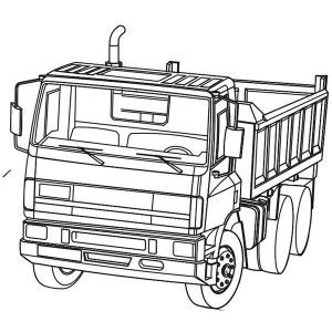 semi trailer dump truck ready to work coloring page kids