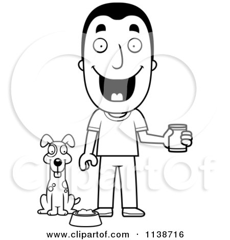 cartoon clipart of a black and white happy man feeding his