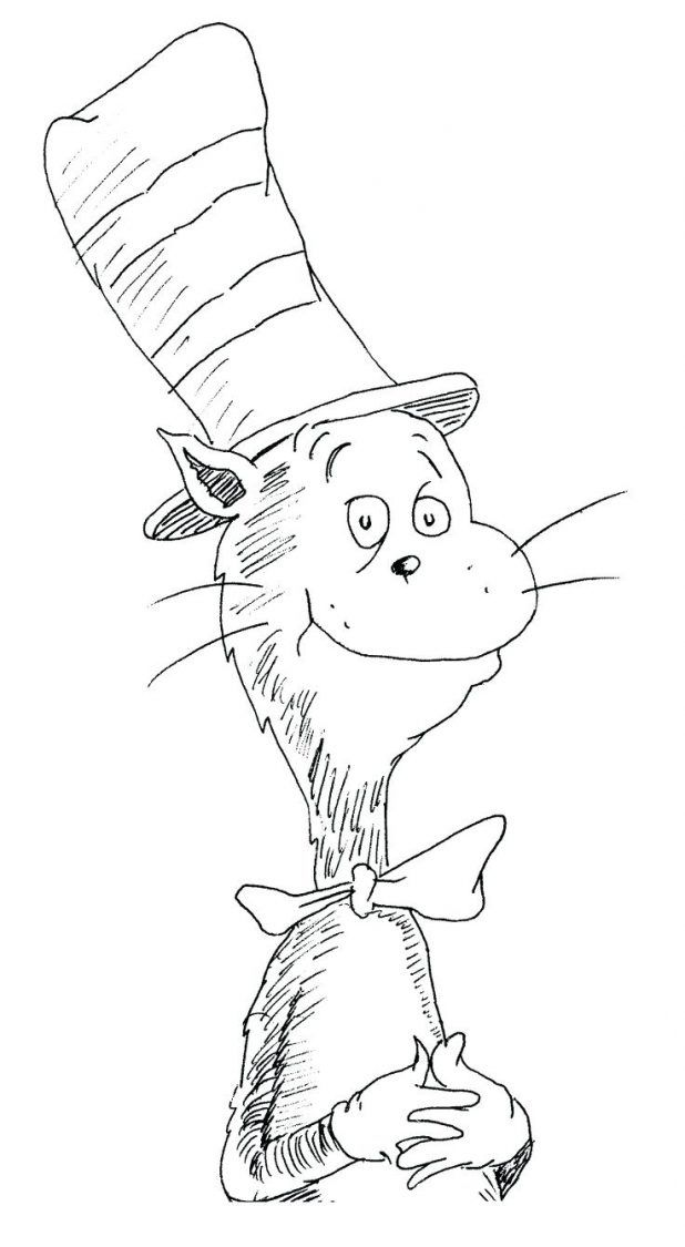 cat in the hat coloring page part 6 free resource for