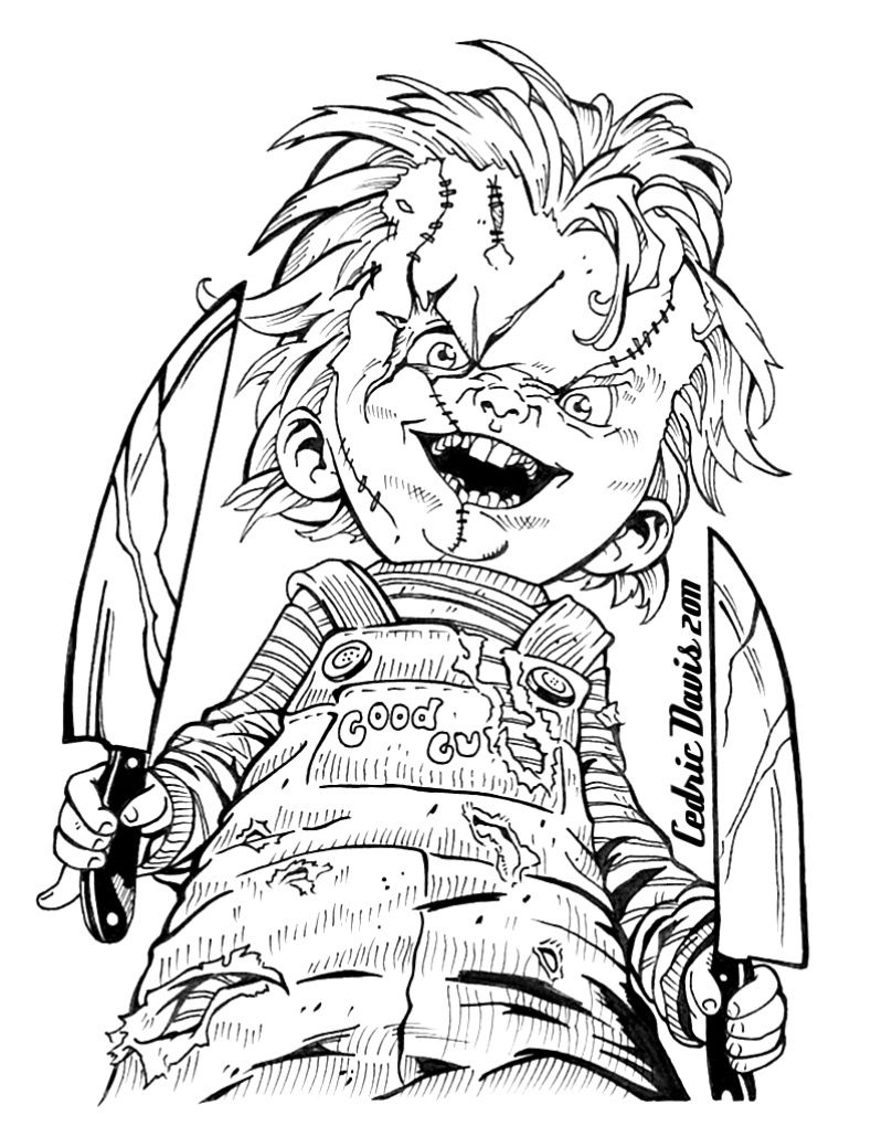 chucky drawings scary coloring pages coloring books