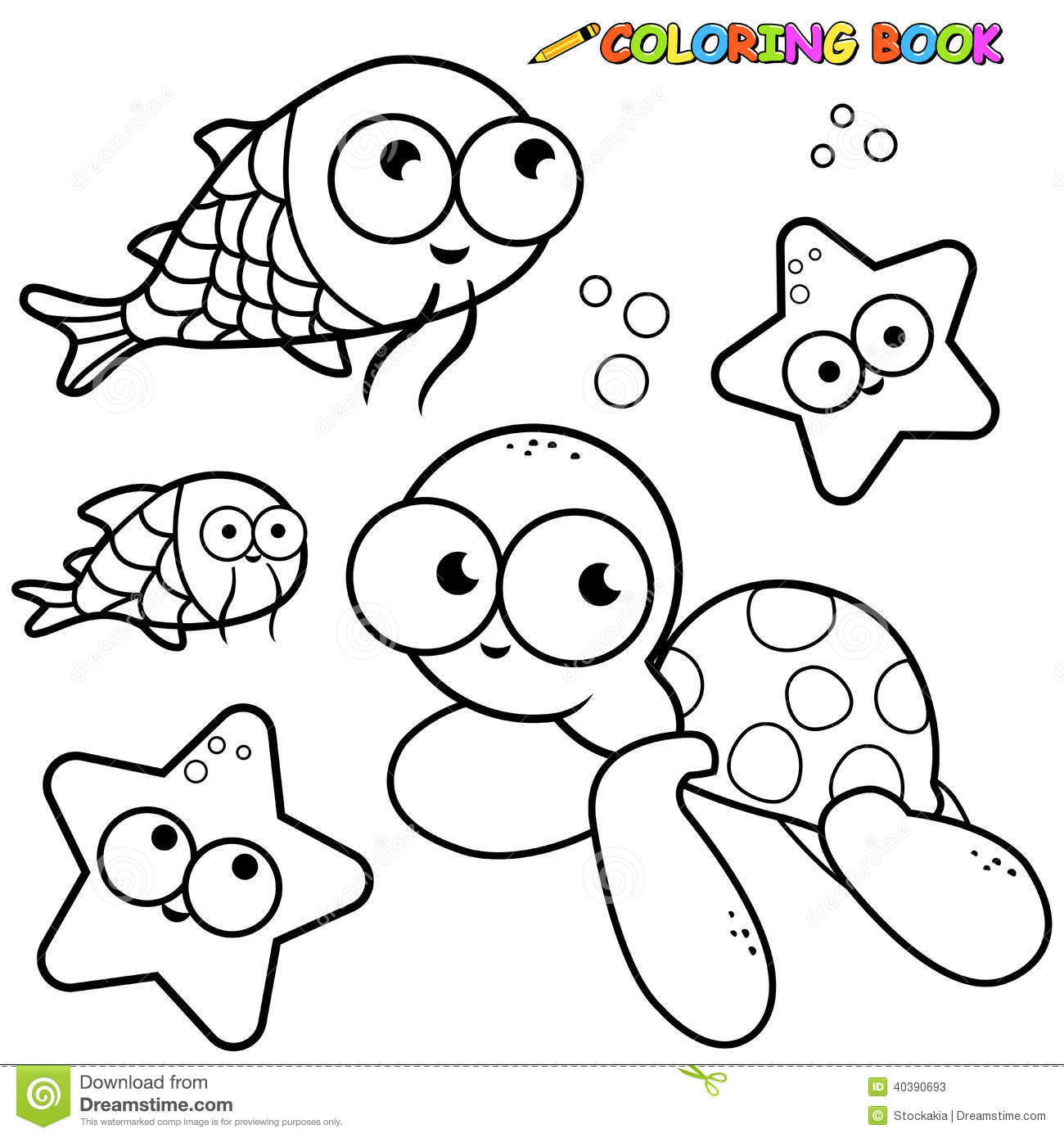 coloring book sea animals set stock vector illustration