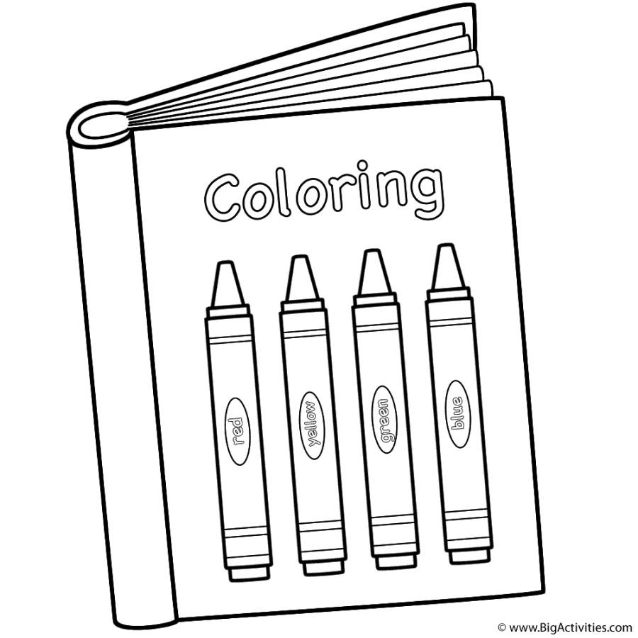 coloring book with crayons coloring page back to school