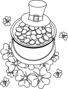 coloring page clipart image hat and pot of gold st