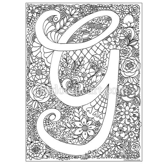 digital instant download adult coloring page letter g