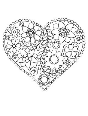 easy flowers heart coloring pages flower coloring pages