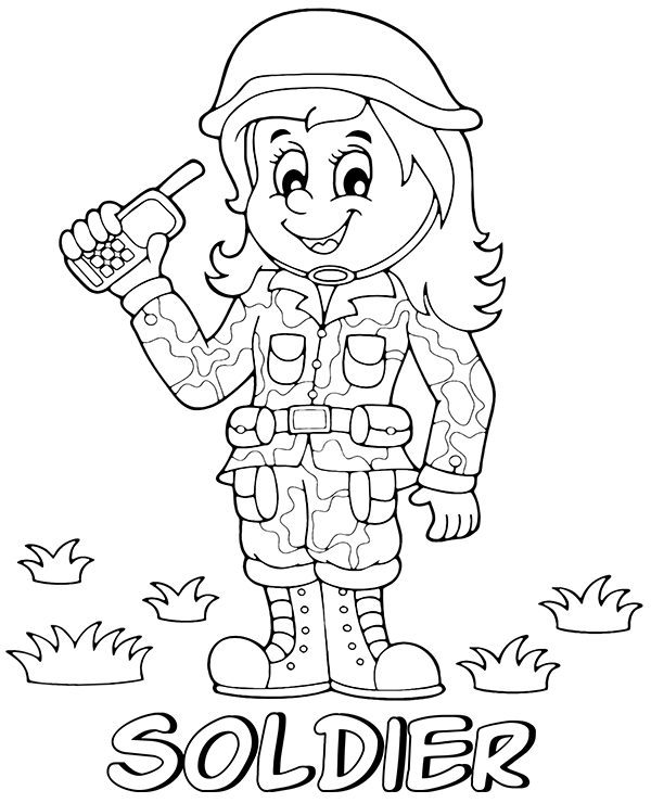 free lady soldier coloring page sheet