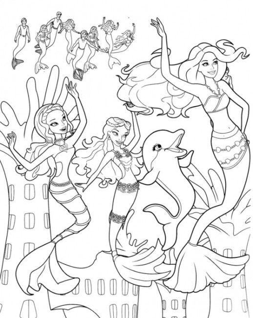 girls coloring pages barbie mermaid mermaid coloring