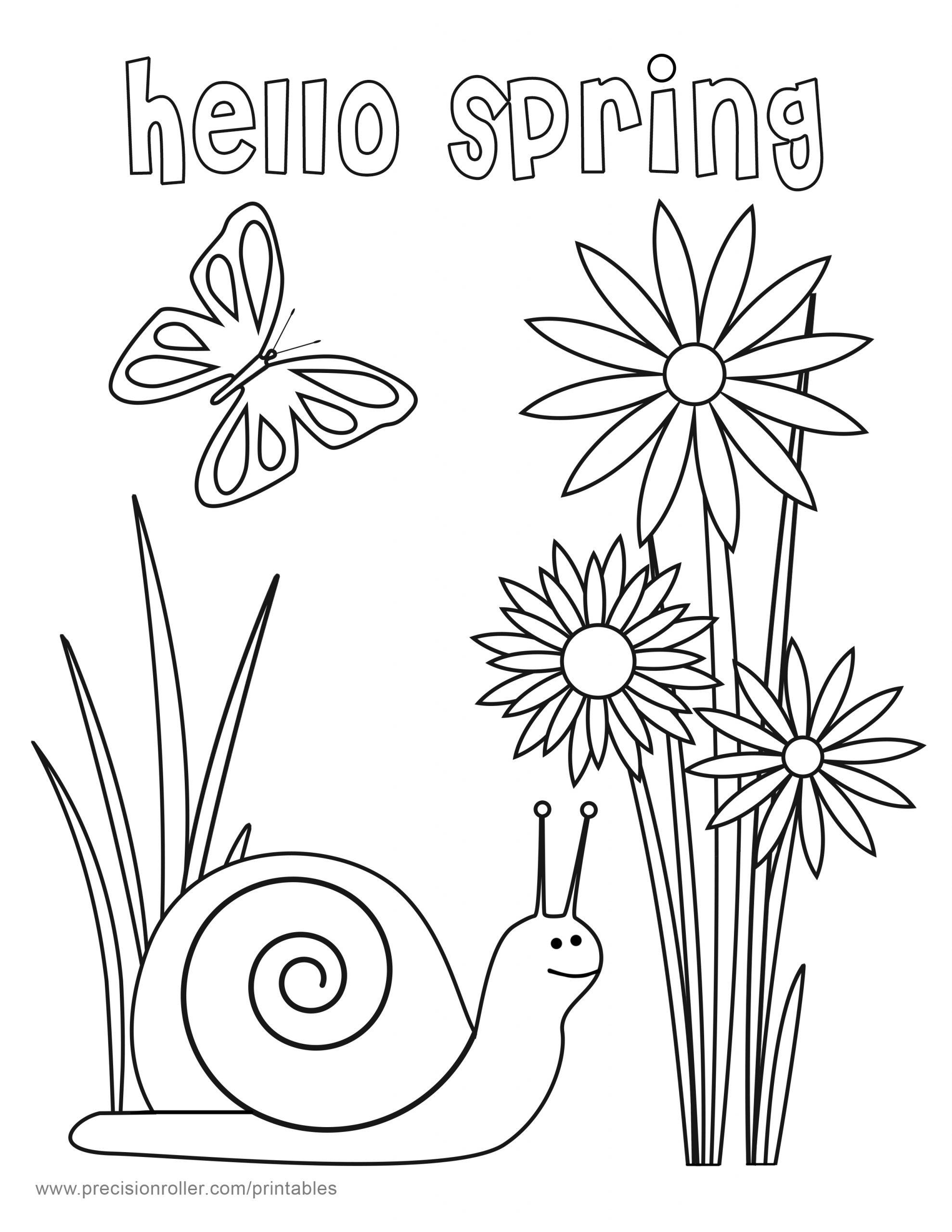 hello spring coloring page precision printables