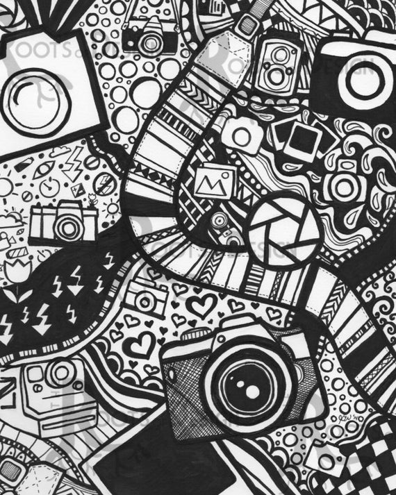 instant download coloring page camera art print rootsdesign