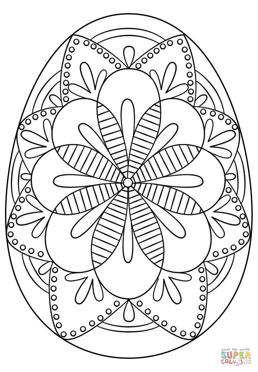 intricate easter egg coloring page free printable