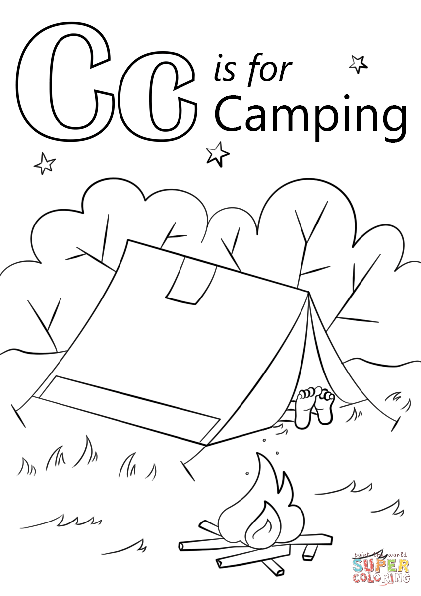 letter c is for camping coloring page free printable
