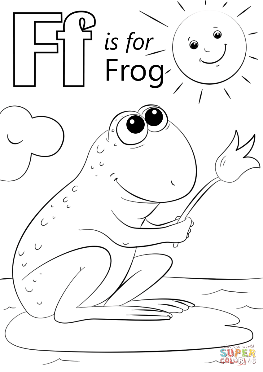 letter f is for frog super coloring