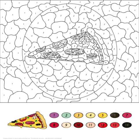 pizza color number free printable coloring pages