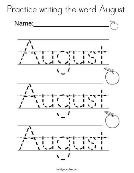 practice writing the word august coloring page twisty