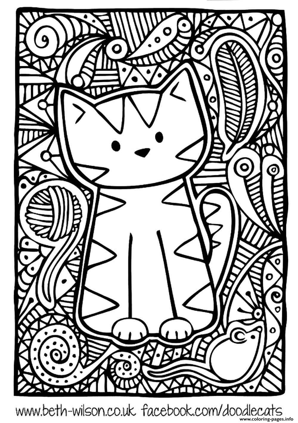 print adult difficult cute cat coloring pages cat