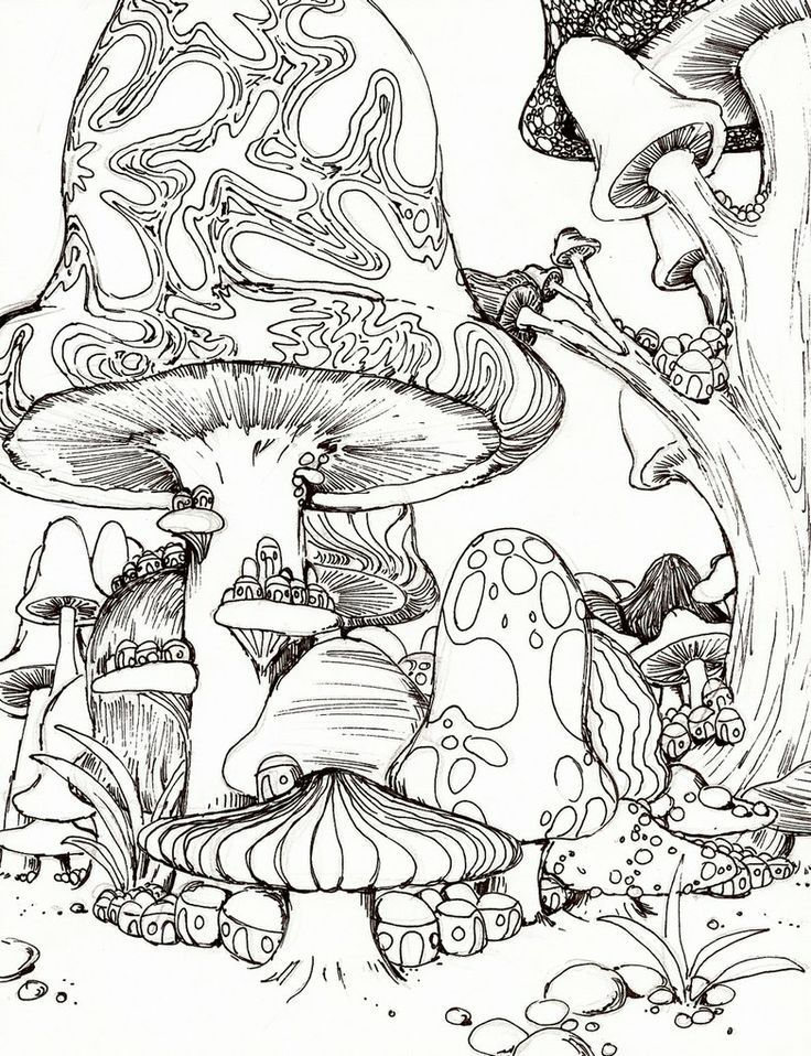 psychedelic mushroom coloring pages american hippie