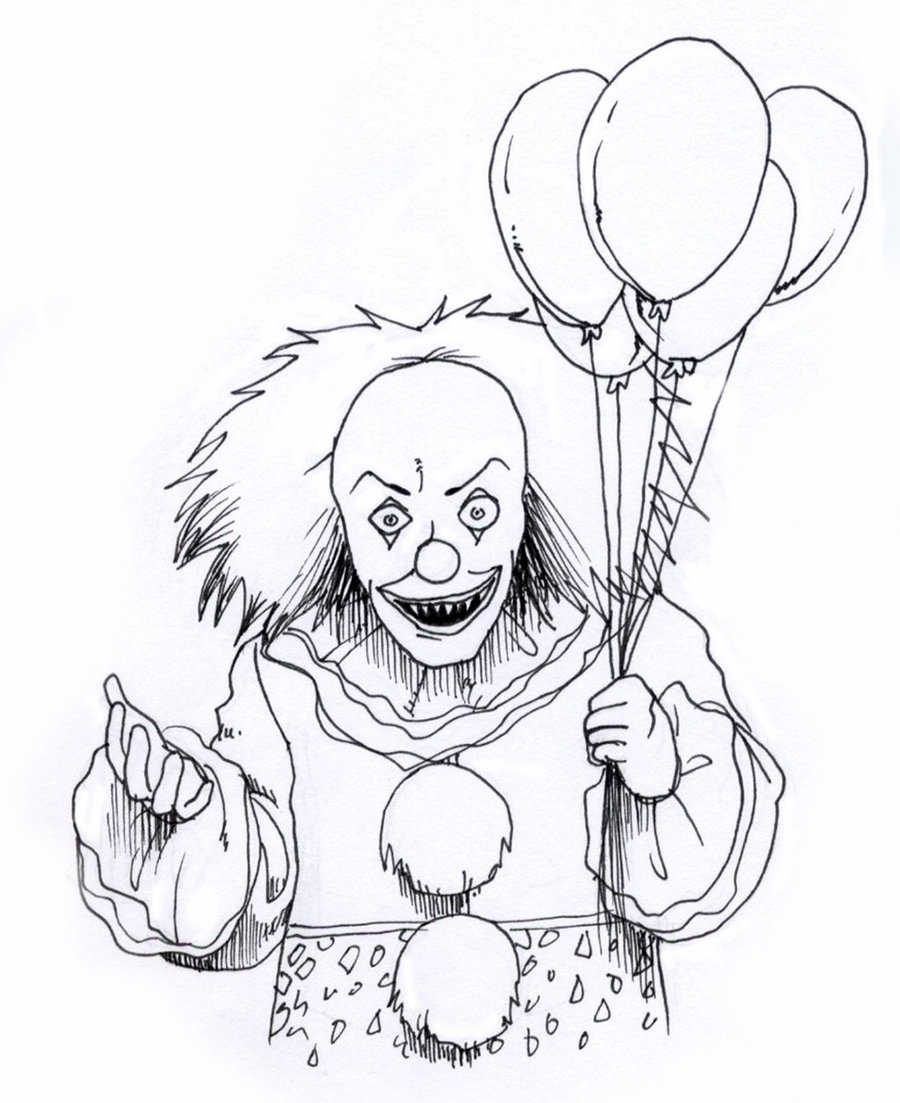 scary clown coloring pages free coloring for kids 2019