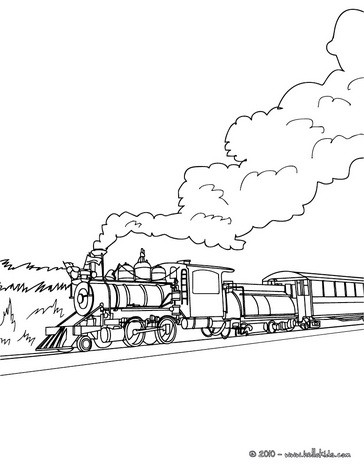 steam engine in the landscape coloring pages hellokids