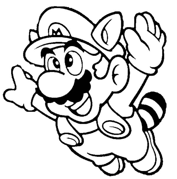 super mario brothers fyling to th sky coloring page