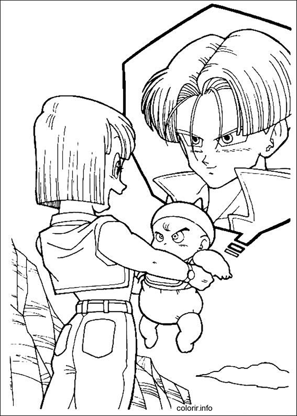 trunks and bulma dragon ball z kids coloring pages