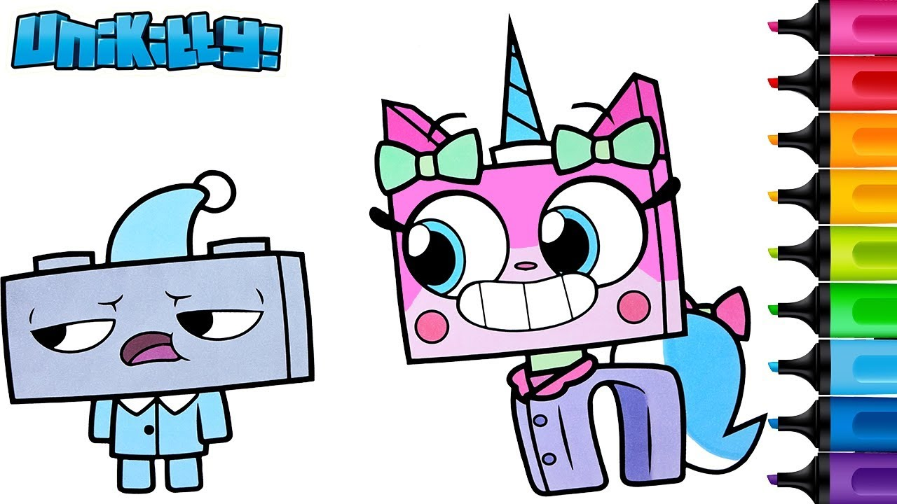 unikitty coloring book pages richard sleepover rainbow