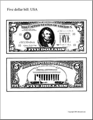 us money 5 dollar bill abcteach