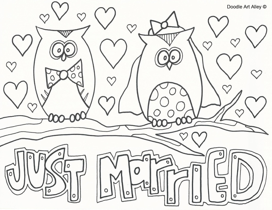 wedding coloring pages doodle art alley