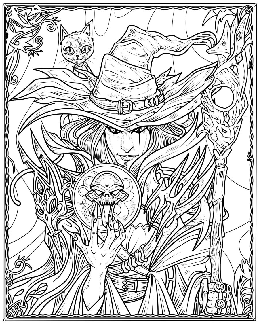 witch coloring page arts crafts and diy cool