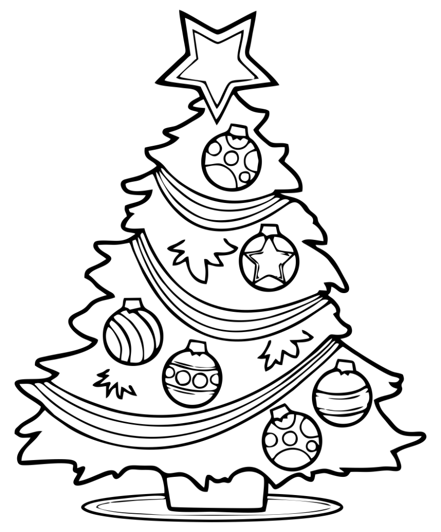 4 best christmas tree coloring sheets printables