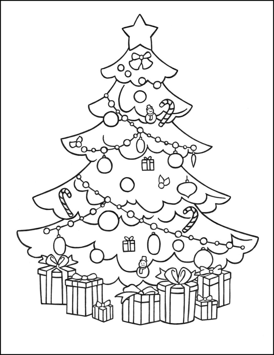 christmas tree coloring page gifts
