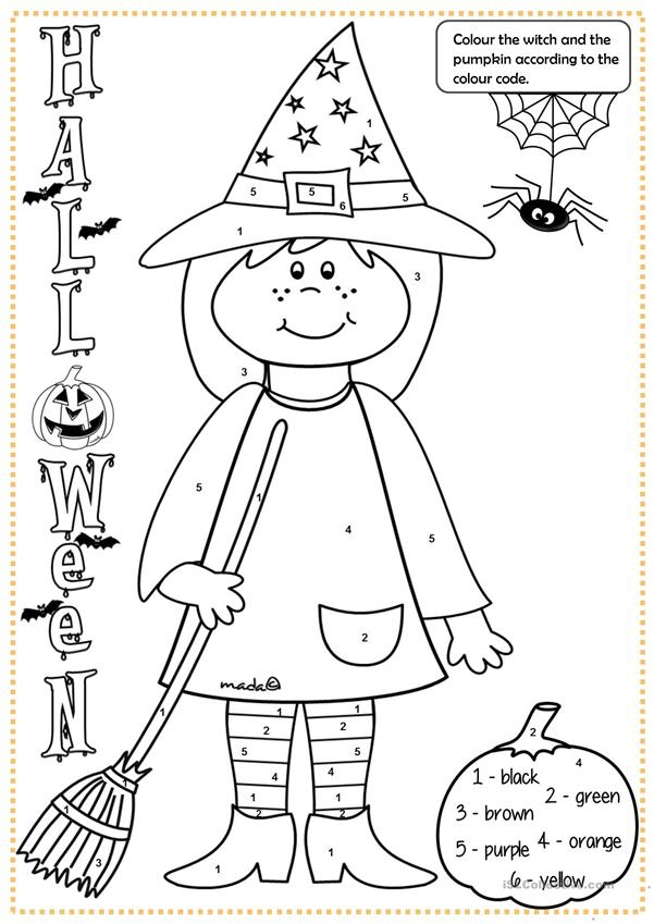 halloween witch colouring worksheet free esl printable