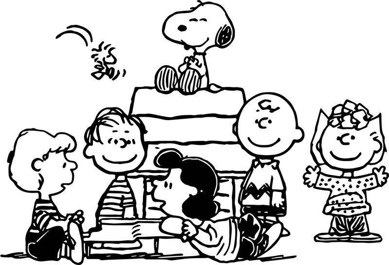 snoopy and peanuts characters coloring page snoopy